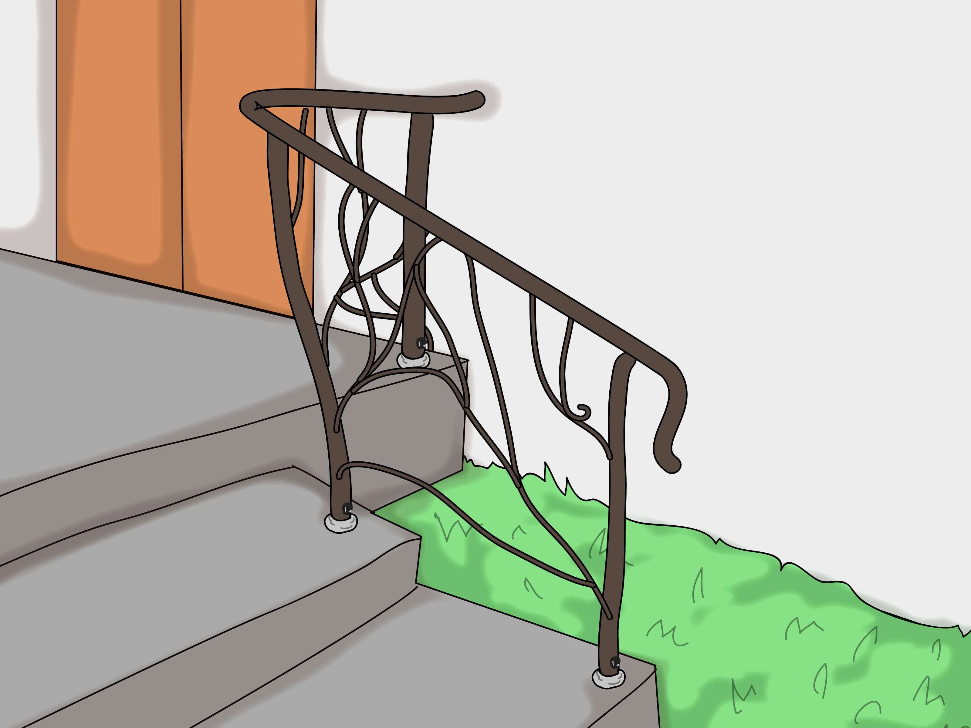 How To Repair A Loose Iron Railing Iron Railing Railing | Loose Railing In Concrete | Stairs | Concrete Steps | Cement | Aluminum | Stair Stringers