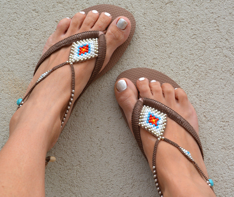 Bohemian Flip Flop Sandals Boho Sandals Rose Gold Havaianas