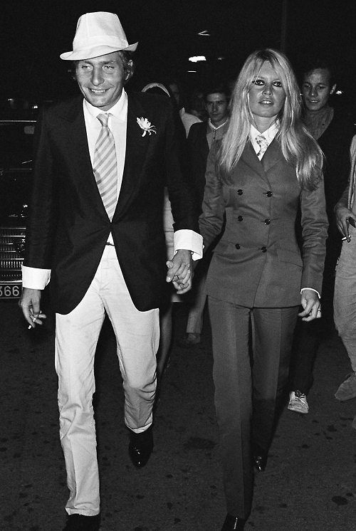 Brigitte Bardot with her third husband, the German millionaire playboy Gunter Sachs. Sachs reportedly courted her by flying over her villa in the French Riviera in a helicopter and dropping hundreds of roses.