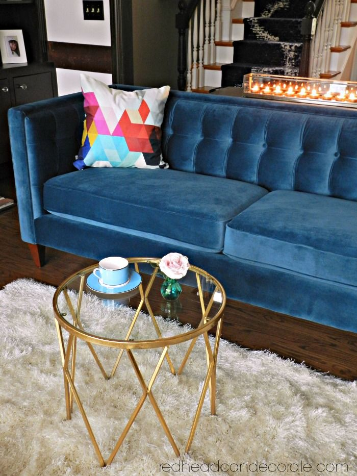 My Teal Blue Velvet Sofa With Images