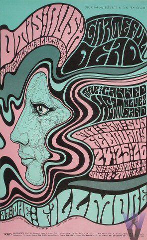 Grateful Dead poster by Wes Wilson, Fillmore Auditorium, San Francisco 1967
