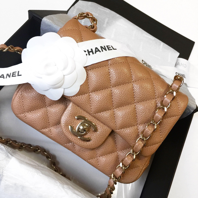 Chanel Beige Caviar Square Mini Chanel Mini Square Chanel