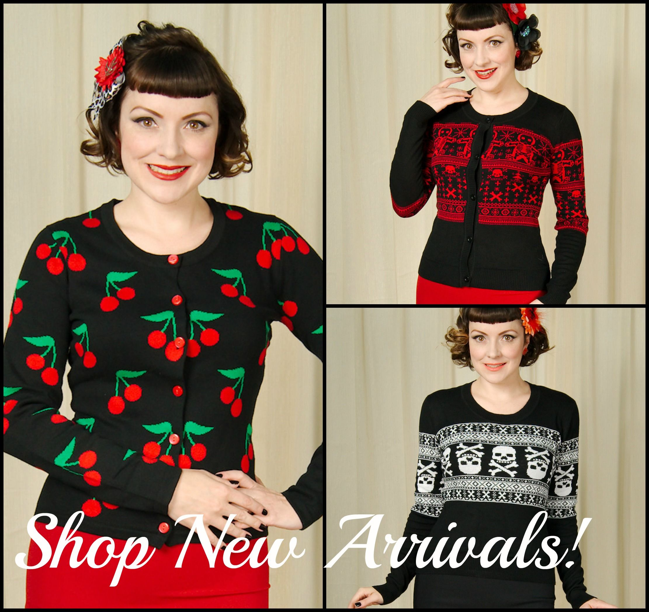 Cozy up in these sweaters! Cherries, skulls and skeleton gingerbread! http://shop.catslikeus.com/collections/new-arrivals?utm_content=buffer0be66&utm_medium=social&utm_source=pinterest.com&utm_campaign=buffer #halloween #pinup