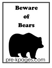 Free Printable Beware of Bears Sign for Camping Dramatic Play Center in Preschool and Kindergarten