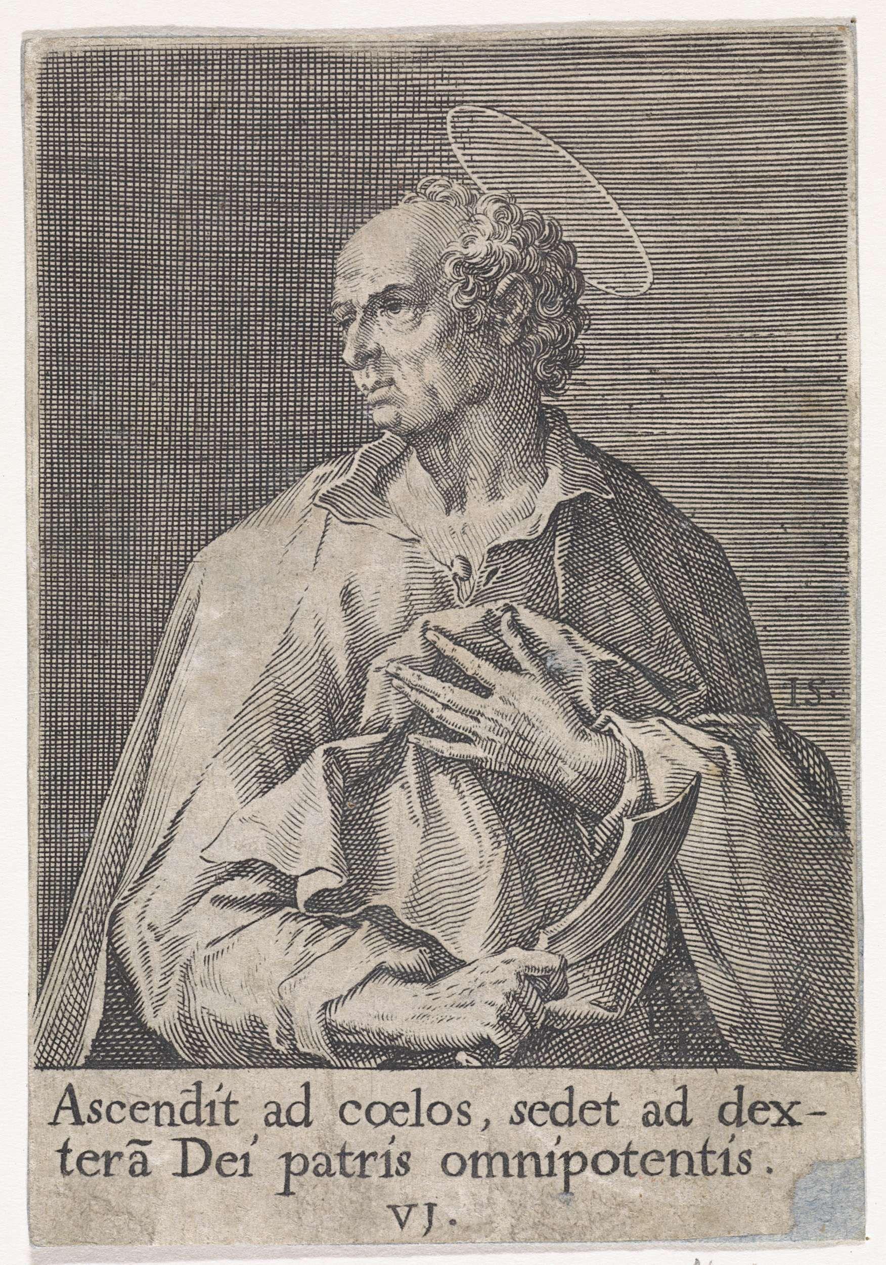 Johann Sadeler (I)   Apostel Bartholomeus, Johann Sadeler (I), 1570 - 1600   De apostel Bartholomeus, met als attribuut het mes waarmee hij werd gevild. De prent heeft een Latijns onderschrijft met een regel uit het Credo. De achtste prent in een serie van veertien waarvan de prenten met een apostel genummerd zijn van 1 tot 12.