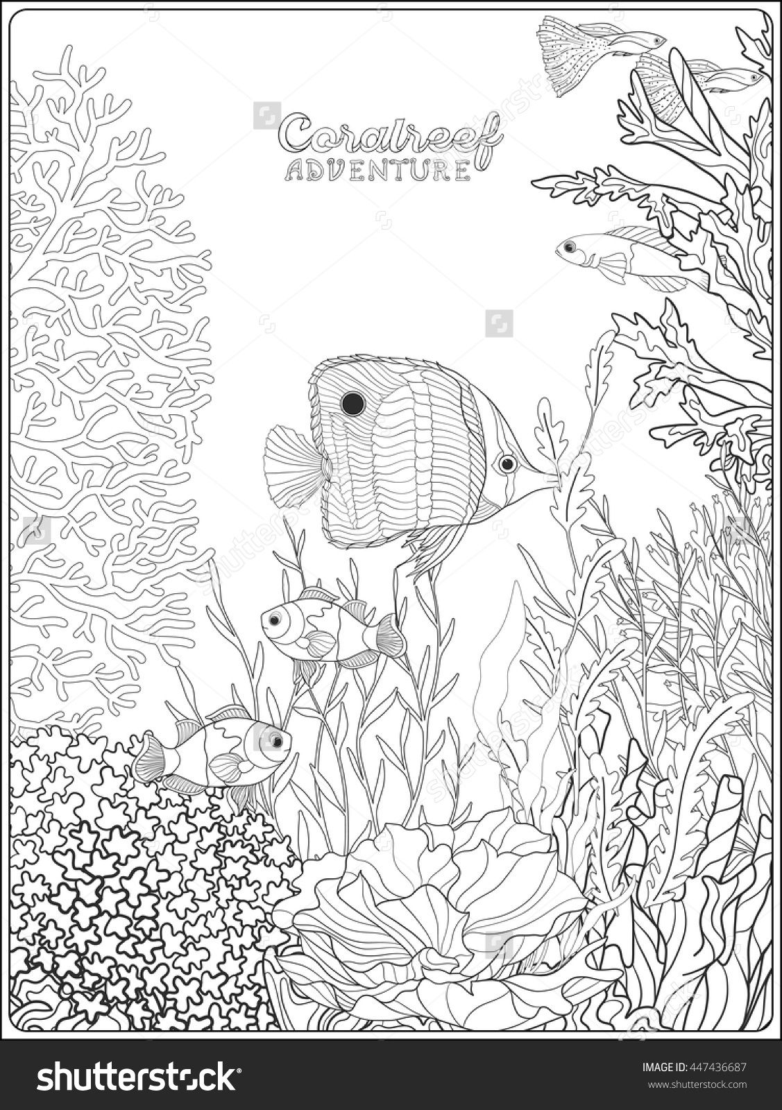 Adult Coloring Book Coloring Page With Underwater World Coral