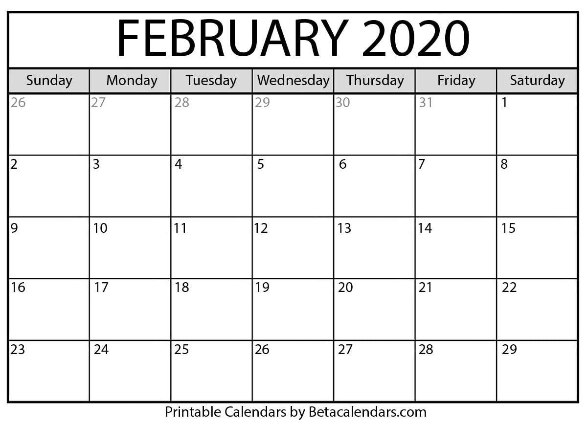 Feb 2020 Printable Calendar Monthly Calendar Printable Free