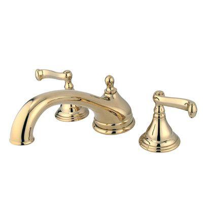 Elements Of Design Royale Double Handle Deck Mount Solid Br Roman Tub Faucet Trim French Lever Wayfair Faucetsbathtub Faucetspolished