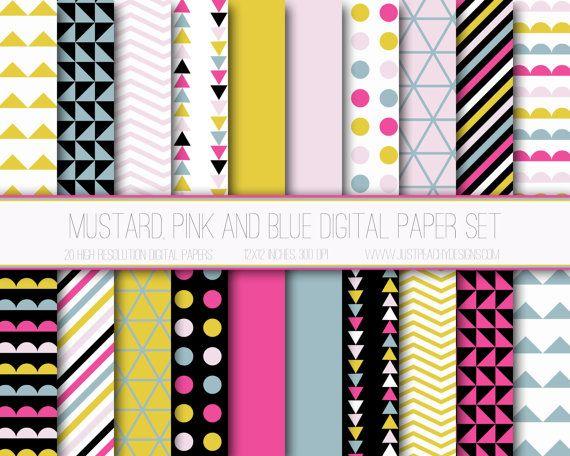 Papier numérique moderne, motif géométrique, fond Digital géométrique, papier Scrapbook, imprimable, Web Design, moutarde rose bleue