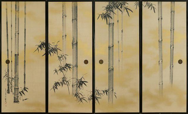 Antique Japanese fusuma depicting bamboo plants