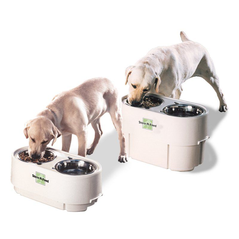 Store N Feed Double Dog Bowl Feeder From Hayneedle Com Pet