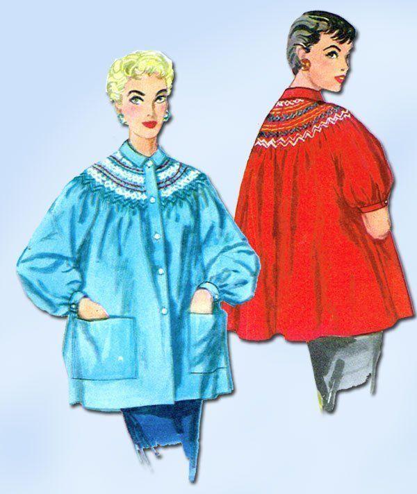 1950s Vintage Misses Smock or Bedjacket Uncut 1954 Simplicity Sewing Pattern 32B