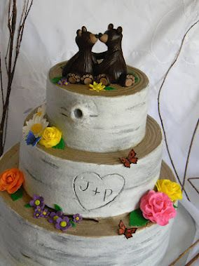 Birch Tree Wedding Cake With Grizzly Bear Toppers