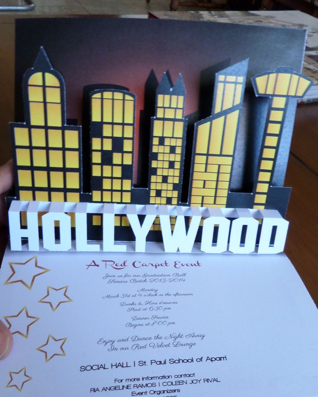 Hollywood themed js prom pop up invitation card visit www hollywood themed js prom pop up invitation card visit popupoccasions stopboris Image collections