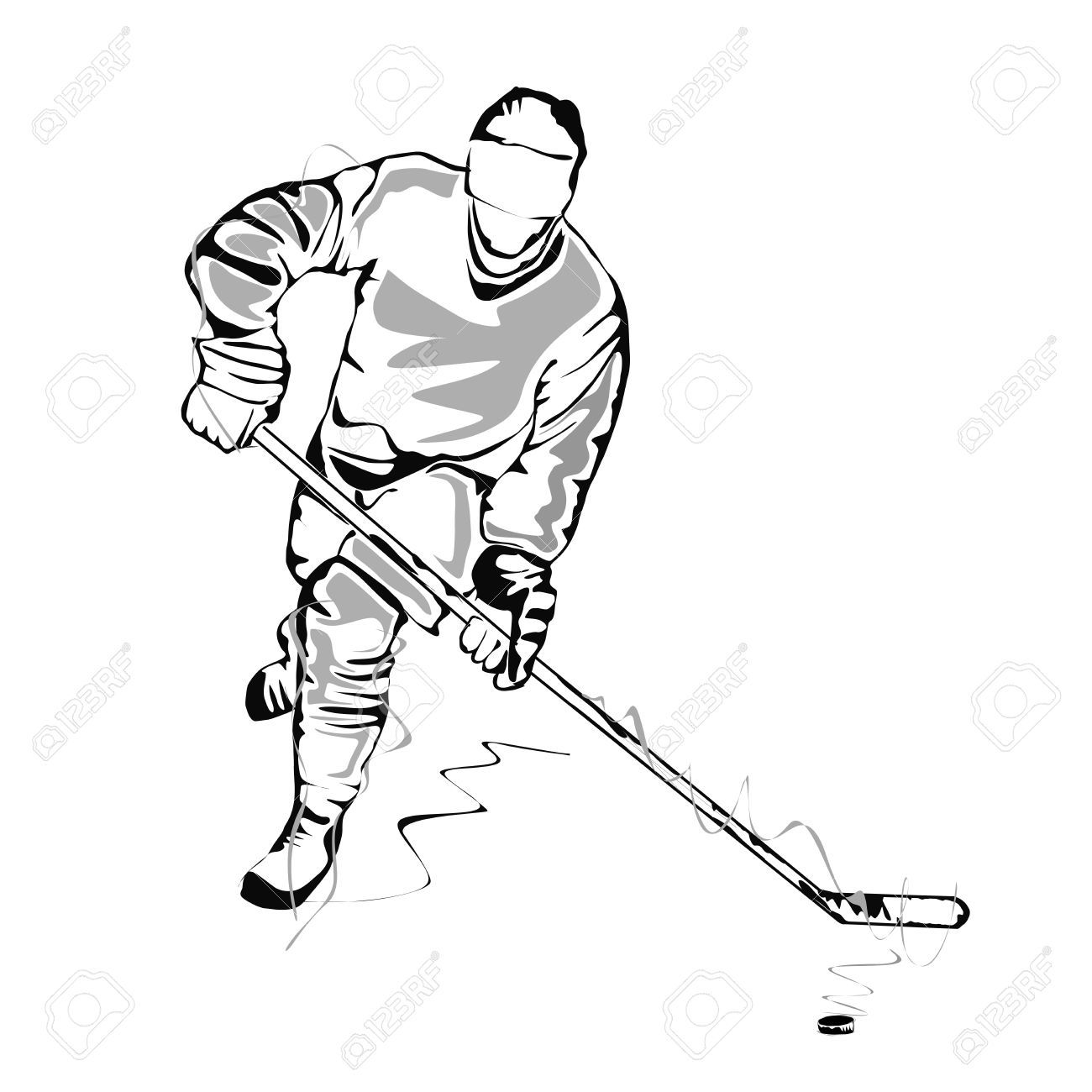 hockey player sketch royalty free cliparts vectors and stock  [ 1300 x 1300 Pixel ]