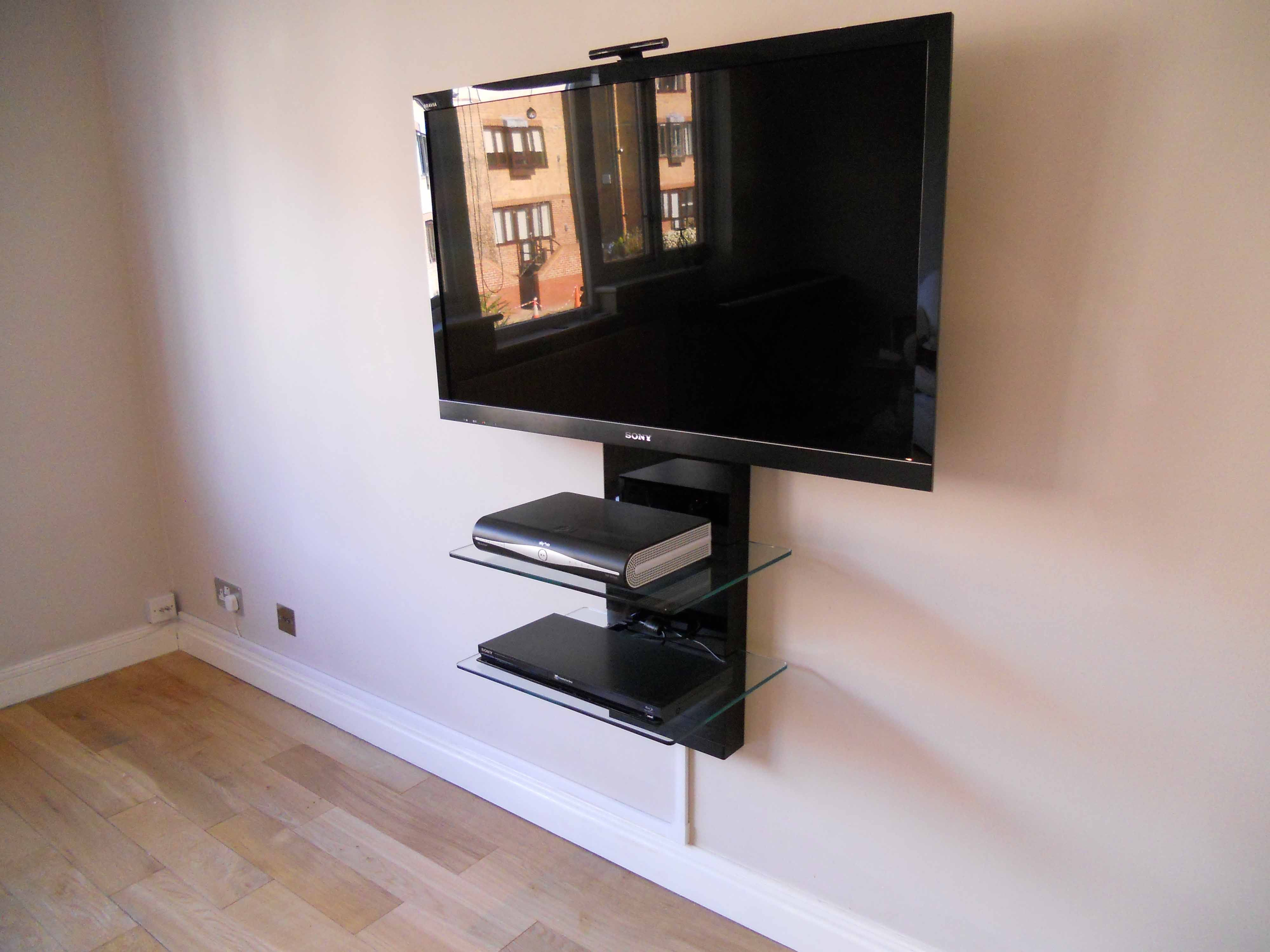 Amazing Furniture Interior Wall Mounted Black Polished Iron Tv Bracket With Two  Tiers Glass Ladder Shelves Wall