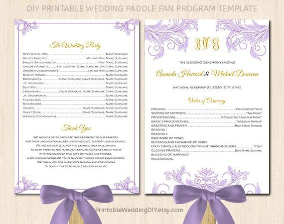 Fan Wedding Program Template Printable Mint Green