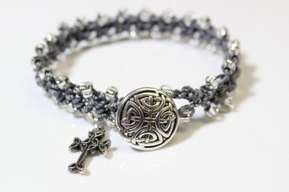 Celtic Bracelet Celtic Cross Pewter Button by OHineKnotwork