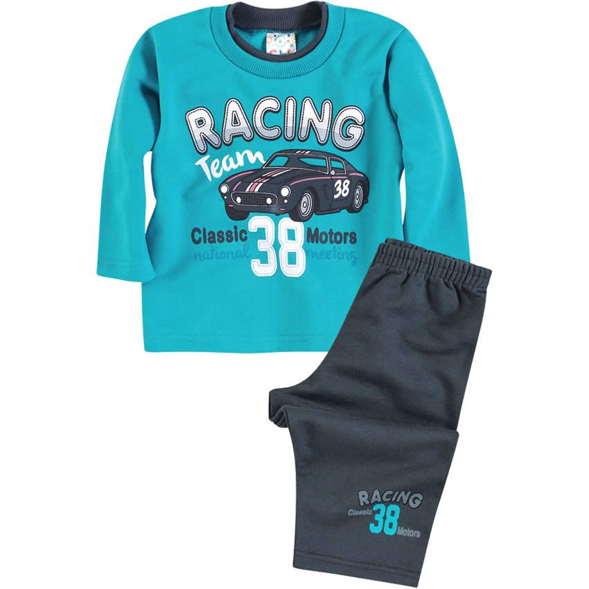Conjunto Bebê Menino Moleton Racing Azul - Brandili :: 764 Kids | Roupa bebê e infantil