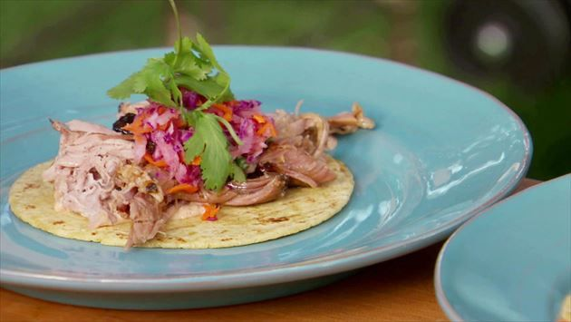 Cuban Pulled Pork Tacos With Guava Glaze Sour Orange Red Cabbage