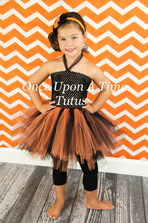 b8fdcb40e1 Orange Black Tutu or Dress - Newborn Baby 6 12 Months Little Girls Size 4 5  6 7 8 10 12 - Kids October Birthday Halloween Costume