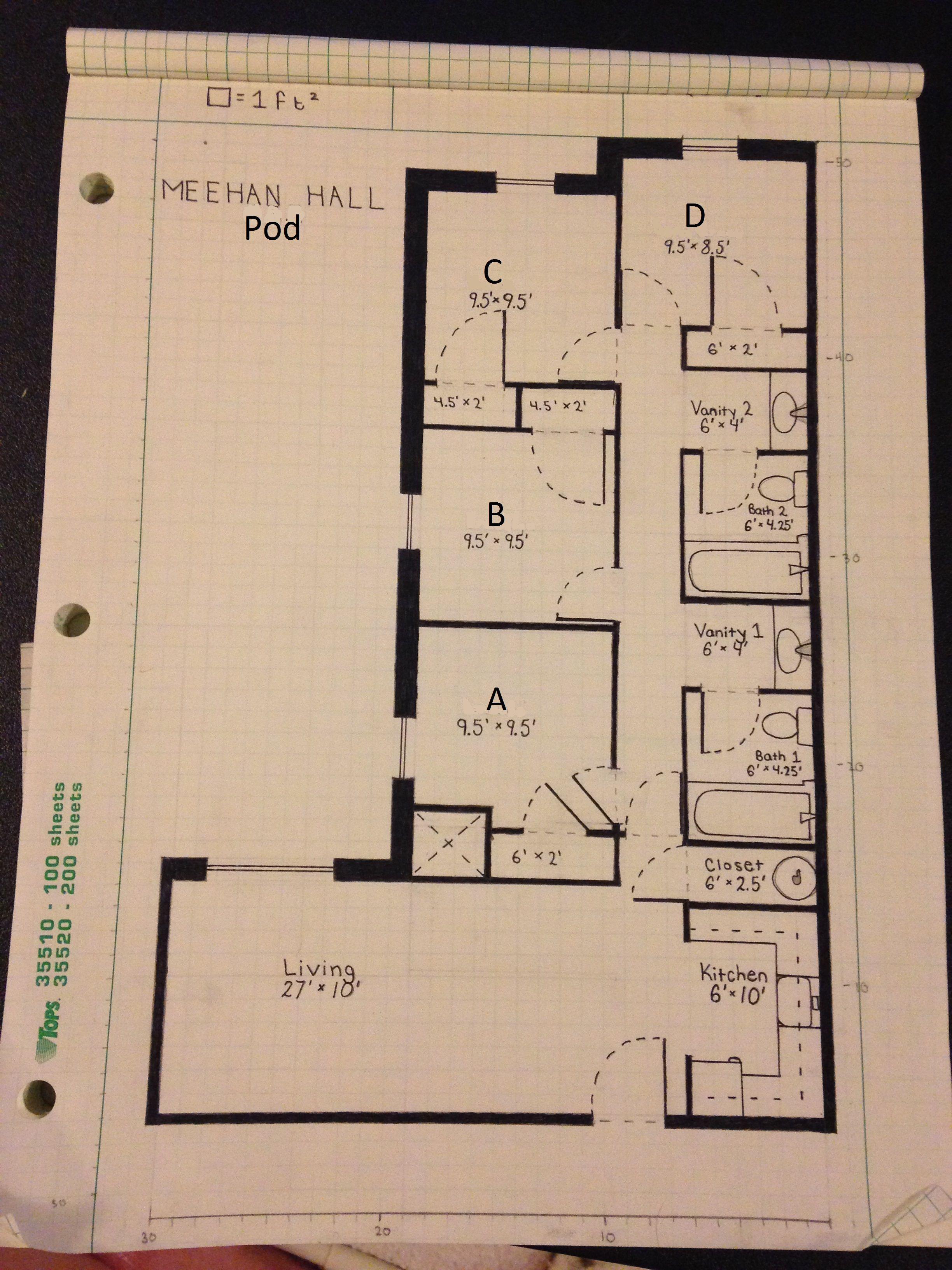 Stadium Tower Meehan Hall Pod Unit Floor Plan Living Room Left Side Version Dorm Planning Hall Floor Plans