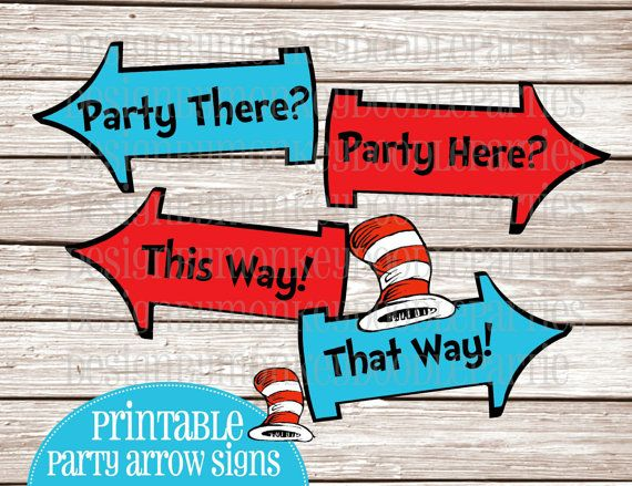 Dr Seuss Cat in the Hat printable party arrows Dr Seuss Cat in