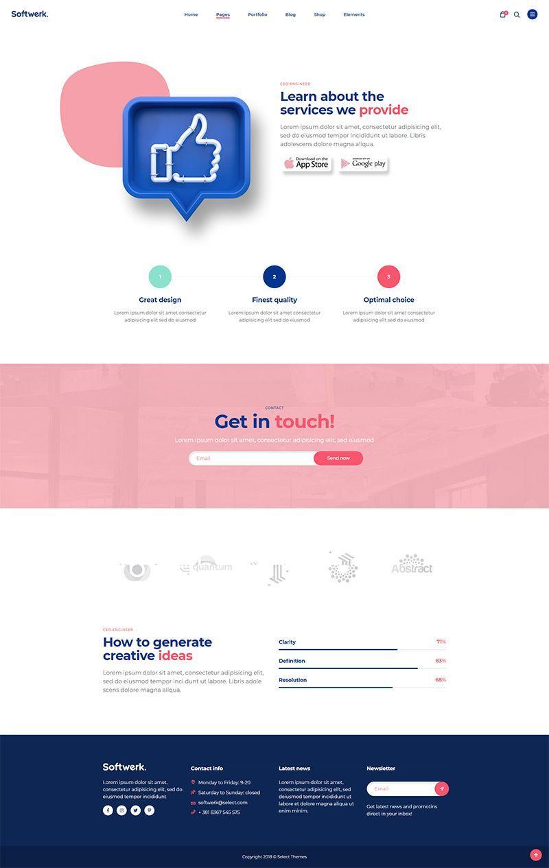 Softwerk Software Saas Startup Theme Agency Website Design Tech Websites Website Design Inspiration