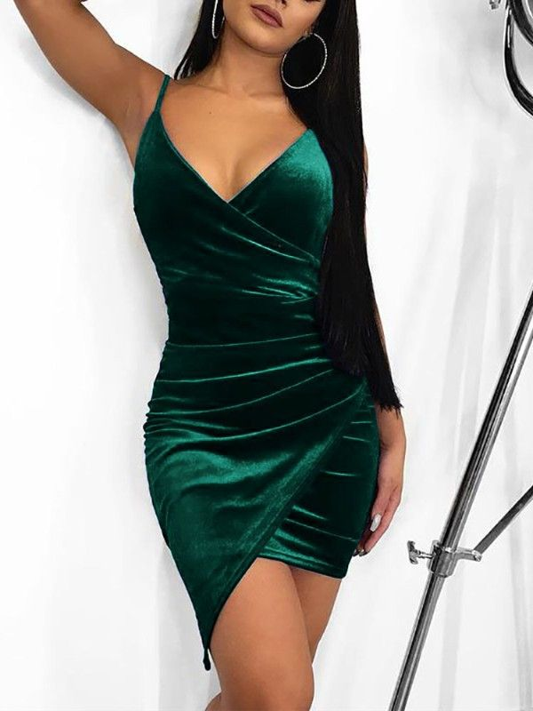 Irregular Wrap Velvet Party Dress  9643f0b8edbf