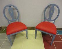 Beautiful hand painted chairs using Chalk Paint® by Annie Sloan Old Violet and Emperor's Silk