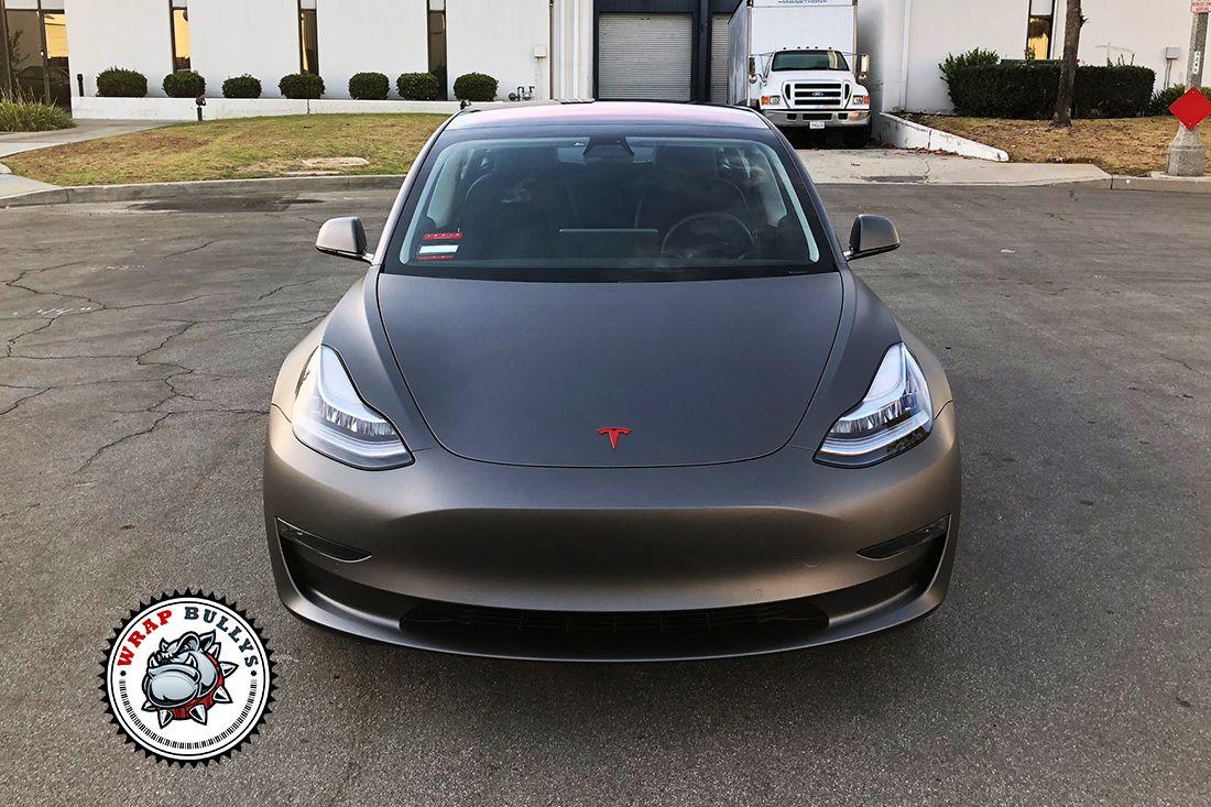 Tesla 3 Wrapped in 3M Matte Dark Grey Wrap Bullys in