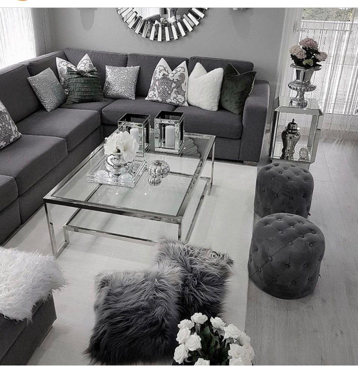 Notitle Silver Living Room Living Room Decor Apartment Living Room Decor Gray Living room table gray