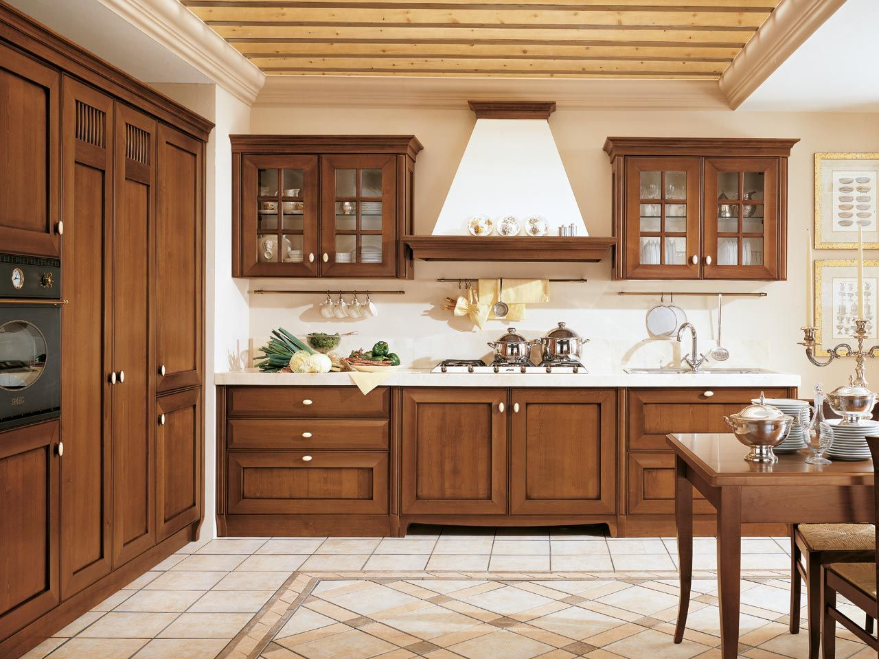 Wood Wall Kitchen Cabinet With Frosted Glass Doors And Modern Pot ...