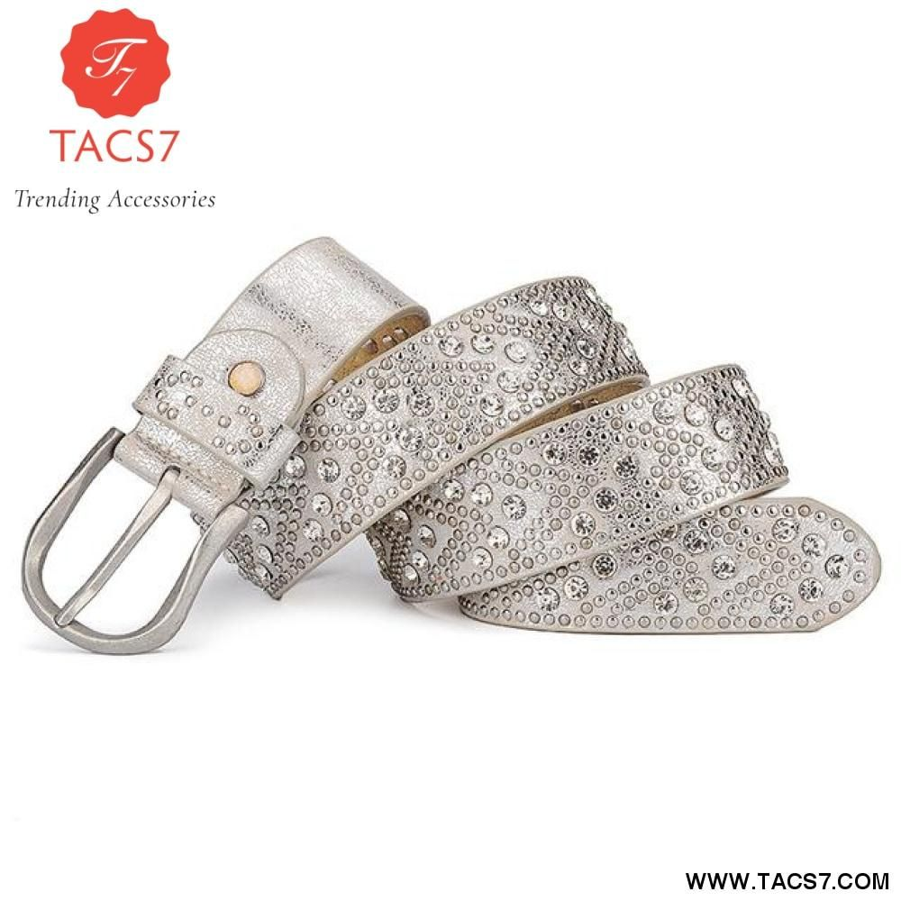 New Pu Individuality Rivet Inlay Ancient Belt For Women