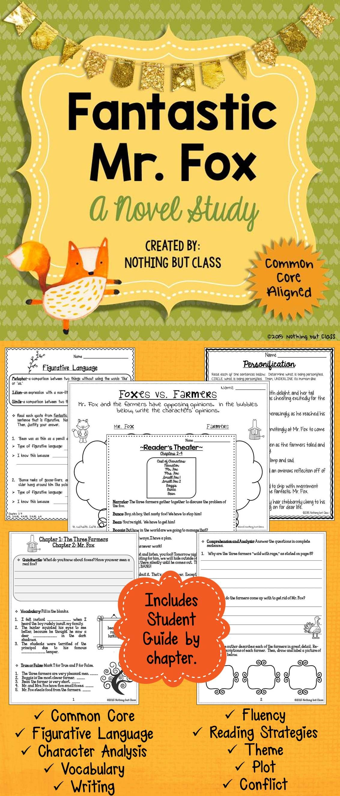 Fantastic Mr. Fox Novel Study Unit: comprehension, vocabulary ...