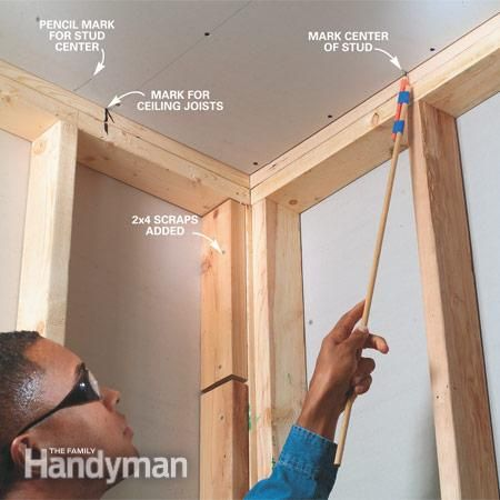 Mark The Center Of Each Stud On The Ceiling And Floor Before Installing Drywall On The Walls Drywall Installation Diy Home Repair Framing Construction