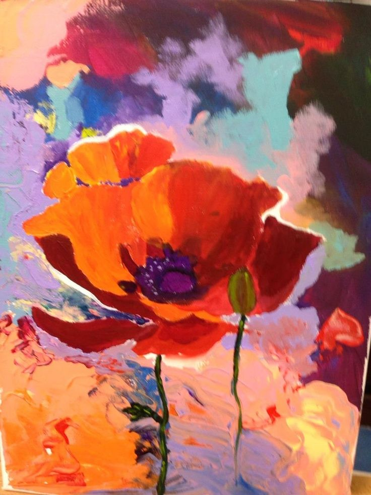 Abstract Poppy Paintings Abstract Poppy With Bold Colours Of Red Orange Purple And Aqua Fleurs Abstraites Peinture Fleurs Aquarelle Fleurs