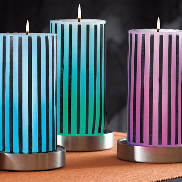 Väriä vaihtava kynttiläalusta, 3 kpl:n setti