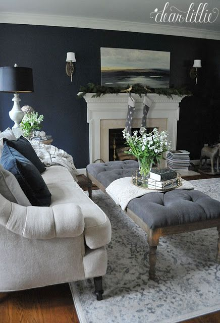 outstanding navy white living room | Benjamin Moore - Blue Note in Eggshell via Dear Lillie ...