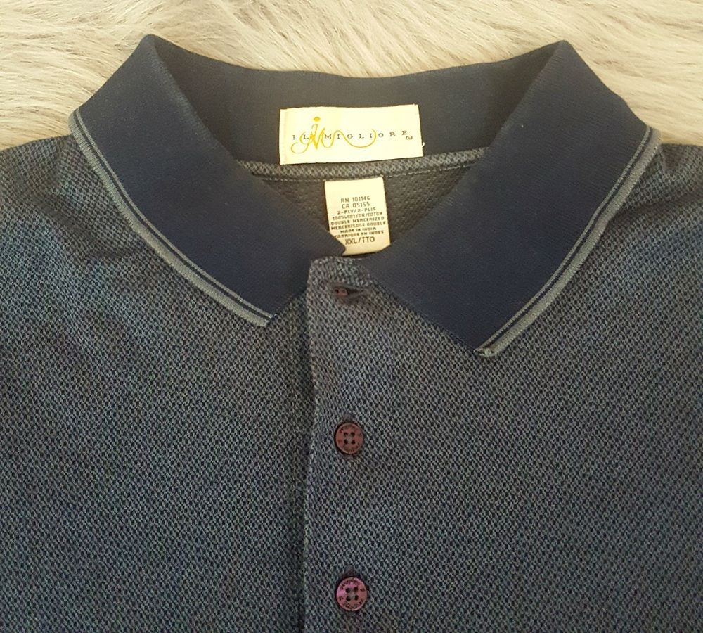 IL Migliore Mens Shirt XXL Blue 2 Ply Double Mercerized Patterned Golf Polo o903 #IlMigliore #PoloRugby
