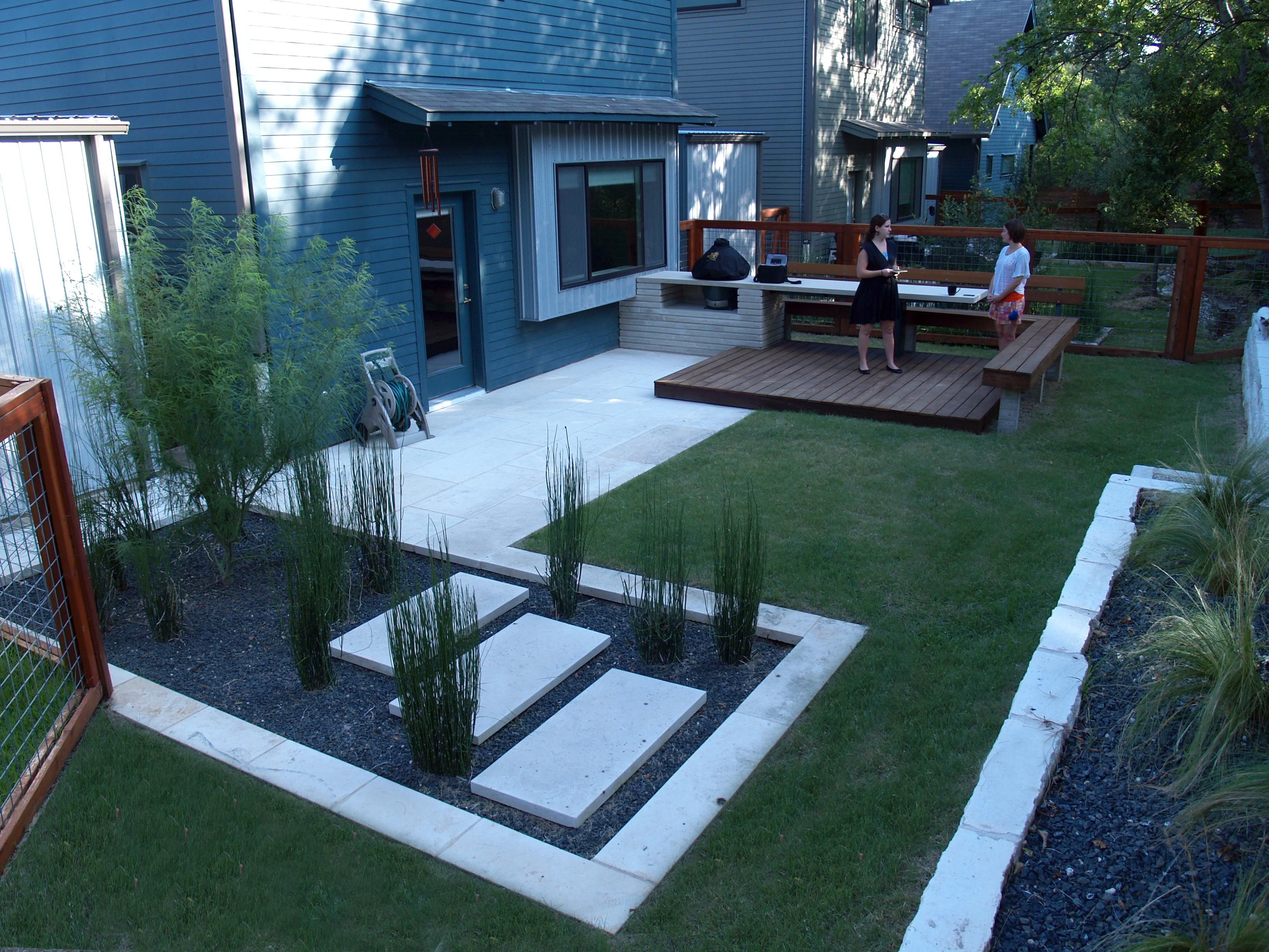 Backyard Design With Kitchen Dining And Living Modern Small Backyard Cool  Stepping Stones Photo