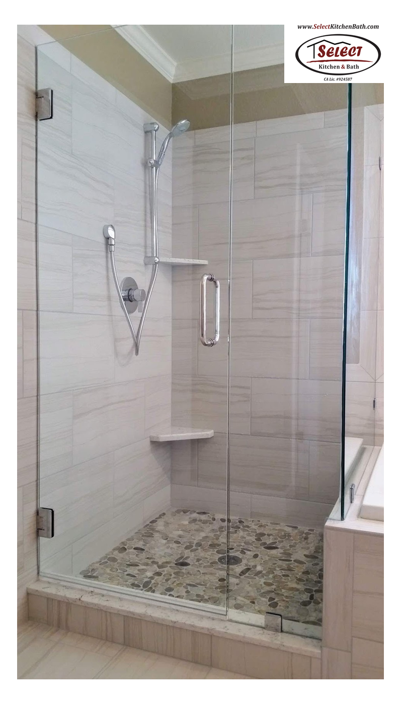 Glass Doors Tile Shower Walls Pebble Shower Pan Floor Installed By