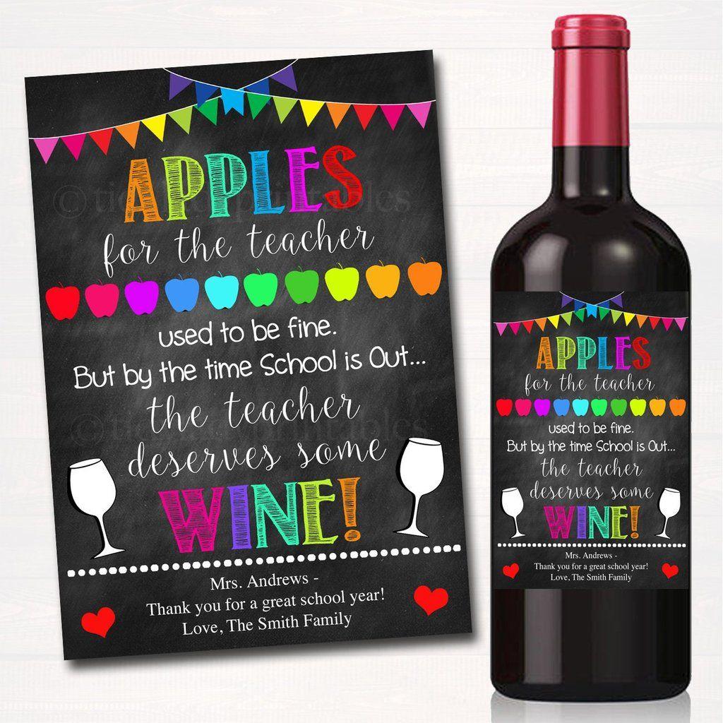 Teacher Appreciation Gift End Of School Year Printable Wine Label Wine Teacher School Teacher Gifts Student Teacher Gifts