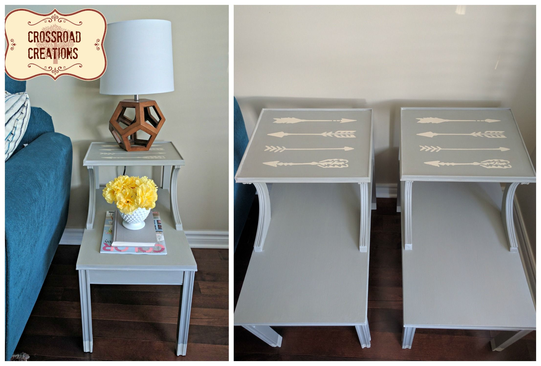 Chalk painted grey end tables with arrows! Hand painted in Pebble Beach by Country Chic Paint. www.crossroadcreations.ca