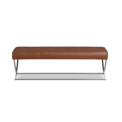 James Nickel & Leather Bench, Leather, Saddle