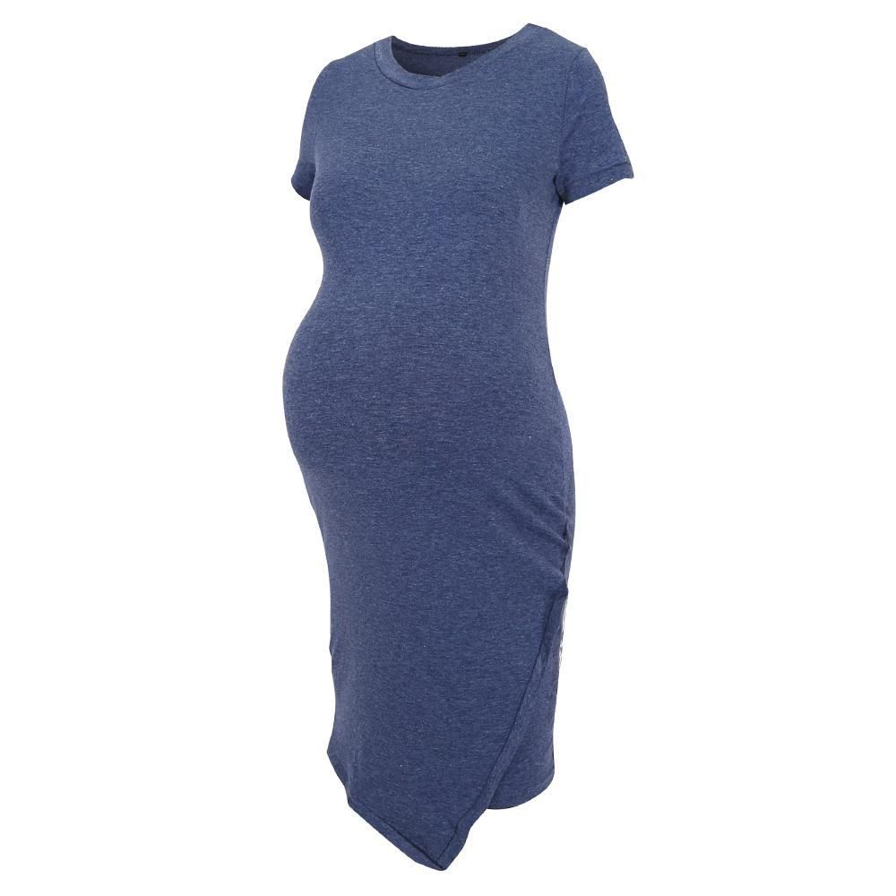 198127c6b6a #fashion #trends #styles #AdoreWe #Lukalula - #lukalula Maternity Short  Sleeve Fitted Terry Dress - AdoreWe.com