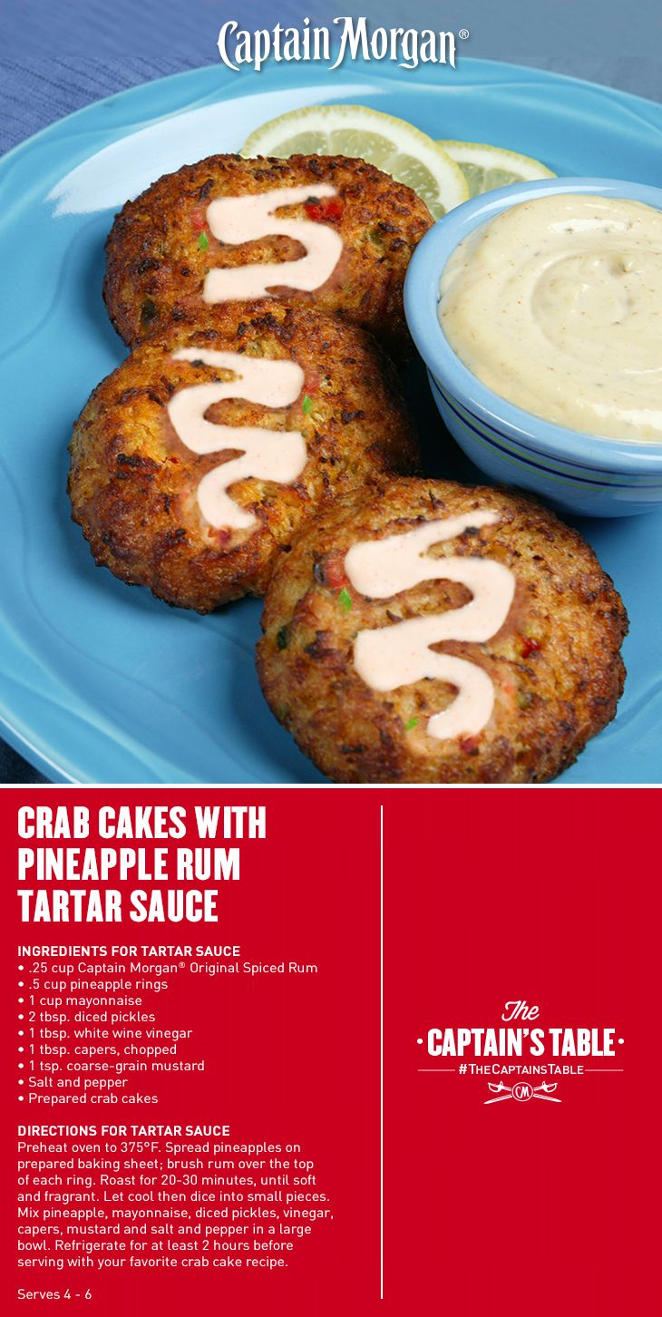 Crab Cakes With Pineapple Rum Tartar Sauce Light And Crunchy Creamy And Tangy This Spring Recipe Has It All Captai Crab Recipes Rum Recipes Homemade Sauce