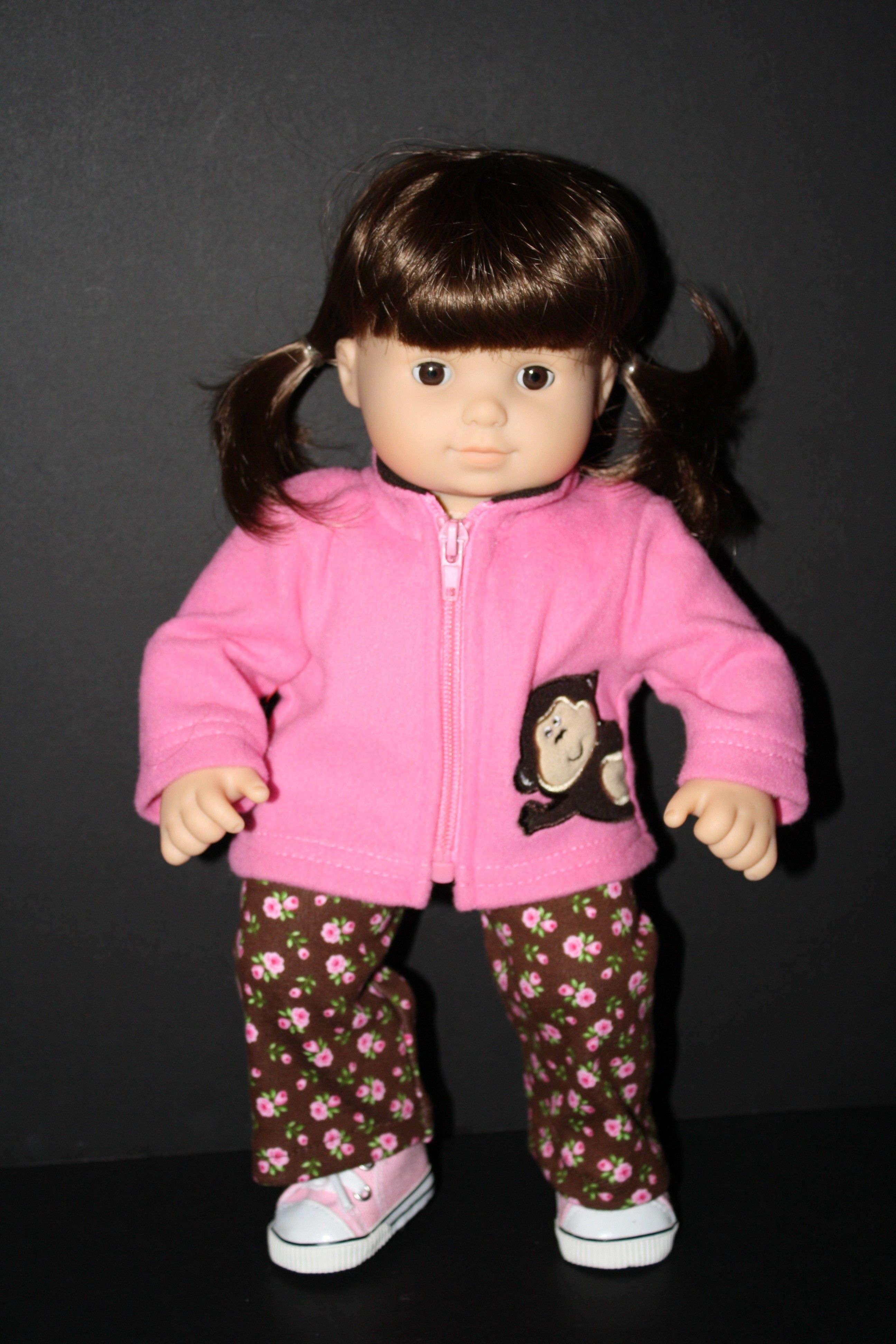 Pink Monkey Fleece and Pants Set for Bitty Baby $17 50