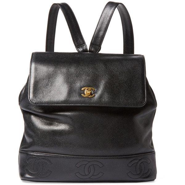 Chanel Women S Vintage Black Caviar 3 Cc Backpack Medium Black 3 550 Liked On Polyvore F Vintage Leather Backpack Vintage Backpacks Genuine Leather Bags