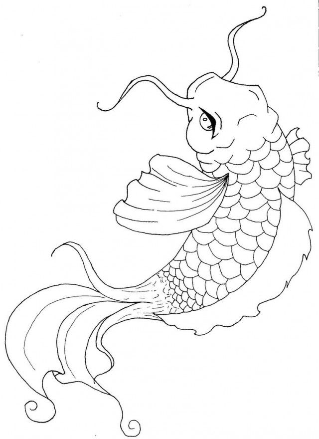 Koi Fish Coloring Pages Japanese Kids